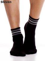 STEVEN Czarne bawełniane skarpety z paskami                                  zdj.                                  5