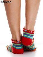 STEVEN Czerwone bawełniane skarpety stopki w paski                                  zdj.                                  3