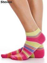 STEVEN Żółto-różowe bawełniane stopki w paski                                  zdj.                                  3