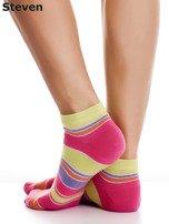 STEVEN Żółto-różowe bawełniane stopki w paski                                  zdj.                                  4