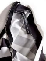 STRADIVARIUS Biało-czarny crop top w paski z golfem                                                                          zdj.                                                                         3
