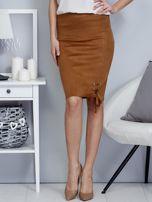 Spódnica brązowa z imitacji zamszu ze sznurowaniem                                   zdj.                                  1