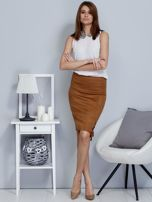Spódnica brązowa z imitacji zamszu ze sznurowaniem                                   zdj.                                  4