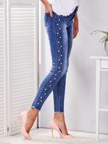 Spodnie jeansowe niebieskie z perełkami                                  zdj.                                  5