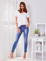 Spodnie jeansowe niebieskie z perełkami                                  zdj.                                  4
