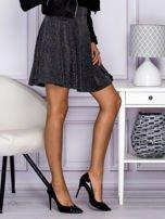 Srebrna rozkloszowana spódnica przeplatana metalizowaną nicią                                  zdj.                                  5