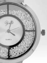 Srebrny zegarek damski na bransolecie ze srebrną cyrkoniową tarczą
