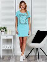 Sukienka bawełniana z kwiatowym nadrukiem jasnoniebieska                                  zdj.                                  4
