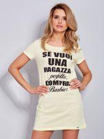 Sukienka bawełniana z napisami jasnożółta                                  zdj.                                  2