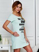 Koszula nocna bawełniana z napisami miętowa                                  zdj.                                  3