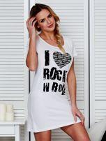 Sukienka biała bawełniana I LOVE ROCK N ROLL                                  zdj.                                  3