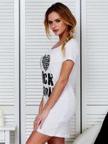 Sukienka biała bawełniana I LOVE ROCK N ROLL                                  zdj.                                  5