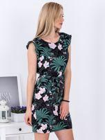Sukienka ciemnoszara w roślinne motywy                                   zdj.                                  3
