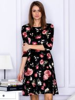 Sukienka czarna aksamitna z motywem kwiatowym                                  zdj.                                  1