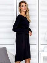 Sukienka damska dresowa o luźnym kroju czarna                                  zdj.                                  3