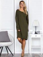 Sukienka damska dresowa o luźnym kroju khaki                                  zdj.                                  4