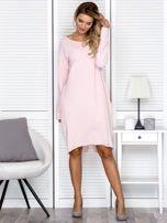 Sukienka damska dresowa o luźnym kroju różowa                                  zdj.                                  4