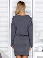 Sukienka damska dresowa z troczkami ciemnoszara                                  zdj.                                  2