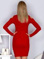 Sukienka damska z wycięciami i dekoltem lace up czerwona                                  zdj.                                  2