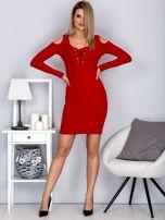 Sukienka damska z wycięciami i dekoltem lace up czerwona                                  zdj.                                  4