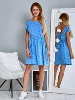 Sukienka dzienna z nadrukiem w kwiatki niebieska                                  zdj.                                  4