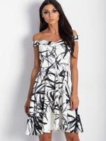 Sukienka ecru z motywem liści                                  zdj.                                  2