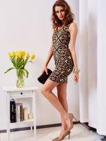 Sukienka granatowa w kolorowe wzory                                  zdj.                                  5