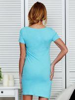 Sukienka jasnoniebieska bawełniana z miłosnym nadrukiem                                  zdj.                                  2