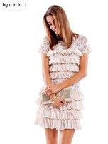 Sukienka jasnoróżowa z falbanami BY O LA LA                                   zdj.                                  1