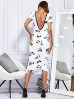 Sukienka maxi z nadrukiem skuterów biała                                  zdj.                                  2