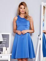 Sukienka niebieska z rozkloszowanym dołem                                  zdj.                                  1