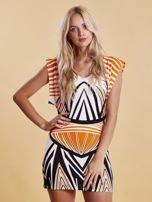 Sukienka z nadrukiem i wycięciem na plecach pomarańczowa                                  zdj.                                  1