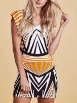 Sukienka z nadrukiem i wycięciem na plecach pomarańczowa                                  zdj.                                  5