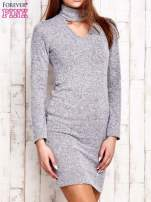 Sweterowa sukienka z wycięciem szara                                  zdj.                                  3