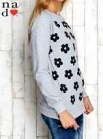 Szara bluza z nadrukiem kwiatów                                                                          zdj.                                                                         3