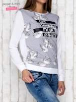 Szara bluza z nadrukiem łabędzi i napisem CUTE MINIMALIST                                  zdj.                                  3