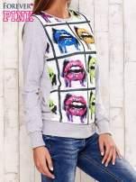 Szara bluza z nadrukiem ust                                  zdj.                                  3
