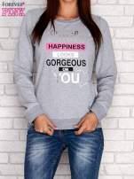 Czarna bluza z napisem SMILE HAPPINESS LOOKS GORGEOUS ON YOU                                                                          zdj.                                                                         1