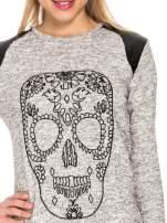 Szara długa bluza z nadrukiem czaszki