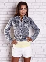 Szara jeansowa kurtka w tłoczone wzory                                  zdj.                                  8