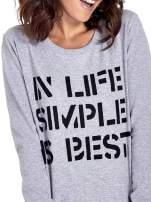 Szara klasyczna bluza damska z napisem IN LIFE SIMPLE IS BEST
