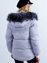 Szara kurtka zimowa pikowana                                  zdj.                                  3