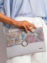 Szara lakierowana kopertówka z kolorową klapką                                  zdj.                                  1