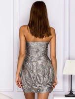 Szara sukienka w ornamentowy wzór                                   zdj.                                  2