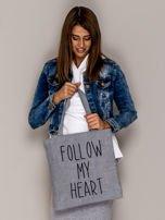 Szara torba materiałowa FOLLOW MY HEART                                  zdj.                                  3