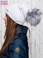 Szara wełniana czapka z futrzanym pomponem                                   zdj.                                  2