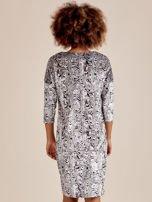 Szara welurowa sukienka w abstrakcyjne wzory                                  zdj.                                  4