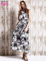 Szara wzorzysta sukienka maxi z dżetami                                   zdj.                                  4