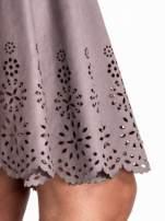 Szara zamszowa spódnica w stylu boho                                  zdj.                                  8