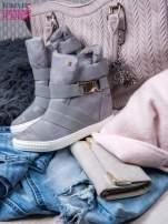 Szare zamszowe sneakersy bandage z klamerką                                                                          zdj.                                                                         2